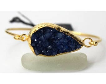 Blue Agate druzy with Stainless Steel Bracelet