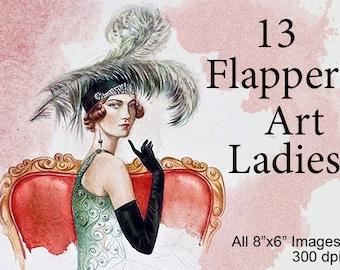 """13 Vintage Flapper Art Women Ladies /8"""" by 6""""/Printable Instant Digital Download/Tags: Retro Antique Art Noveau Deco Prints Girl Dancer"""