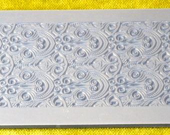 Rollable NAUVEAU FOQUET  Clay Texture Rubber Stamp  Zentangle Swirls