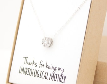 Silver Flower Solitaire Necklace - Mother's Day Jewelry - Unbiological Mother - Second Mother - Like a Mother to Me - Mom - Personalized