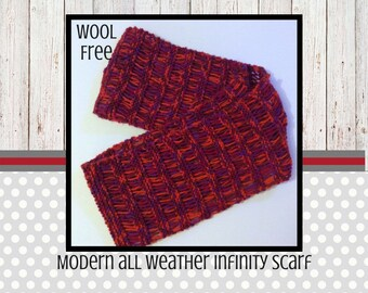 Infinity scarf, lightweight infinity scarf, vegan knit, summer fashion, acrylic yarn, vegan style, red, orange, purple, for women