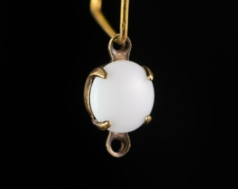 White Glass Stone Brass 2 Loop Brass Ox Setting Drops rnd007D2