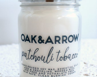 PATCHOULI TOBACCO//Soy Wax Wood Wick Candle//Hand Poured Soy Candle//10oz