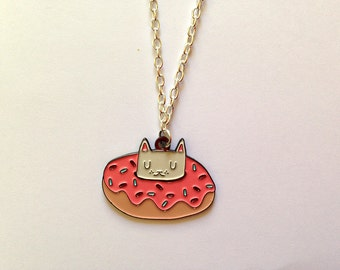 Enamel Cat Necklace - Cat Necklace - I like cats - Cat pendant - Donut - Donut cat - enamel necklace - cat jewellery - enamel cat jewellery