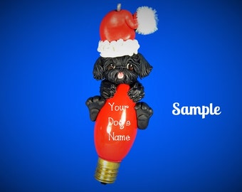 Black Shih Tzu Santa Dog Christmas Holidays Light Bulb Ornament Sallys Bits of Clay PERSONALIZED FREE