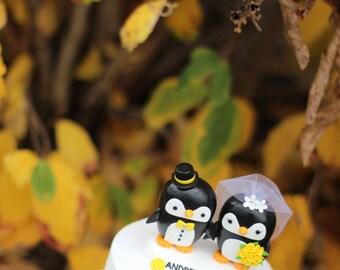 Penguin couple wedding cake topper / yellow bow / yellow roses