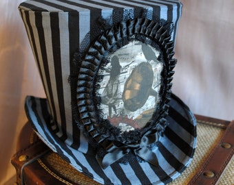 Steampunk Circus Top Hat,Striped Top Hat for WOMEN,Alice in Wonderland Cosplay,Gothic Lolita Ladies Hat,Halloween Costume-Made to Order