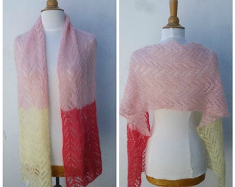 Knit mohair scarf, mohair and silk scarf, knit mohair wrap, pink mohair wrap, knit mohair shawl, pink mohair shawl, knit silk wrap, OOAK