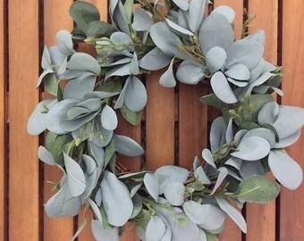 Farmhouse Faux Greenery Wreath   Seeded Eucalyptus Wreath   Eucalyptus Wreath   Small Wreath