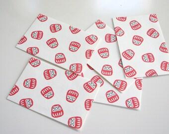"""Mini Daruma Envelope - Japanese motif mini envelopes (5 envelopes 2-5/8"""" x 2"""" )"""