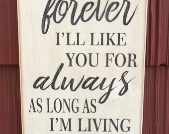 I'll Love You Forever I'll Like You For Always, Gift for Mom, Gift for Mother, Birthday Gift for Mom, Rustic Sign, Mothers Day Gift