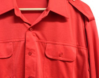 Mens 60s polyester button down