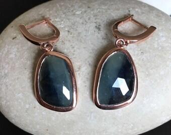 Sapphire Earring Blue Sapphire Earring Rose Gold Earring Dangle Drop Genuine Raw Real Sapphire September Birthstone Handmade Earring
