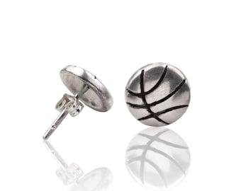 Sterling Silver Basketball Stud Earrings, Basketball Earrings, Basketball Jewelry,  Basketball Player Gift