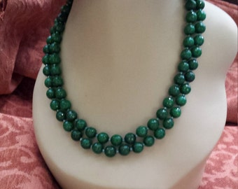 Two strand beaded faceted jade necklace