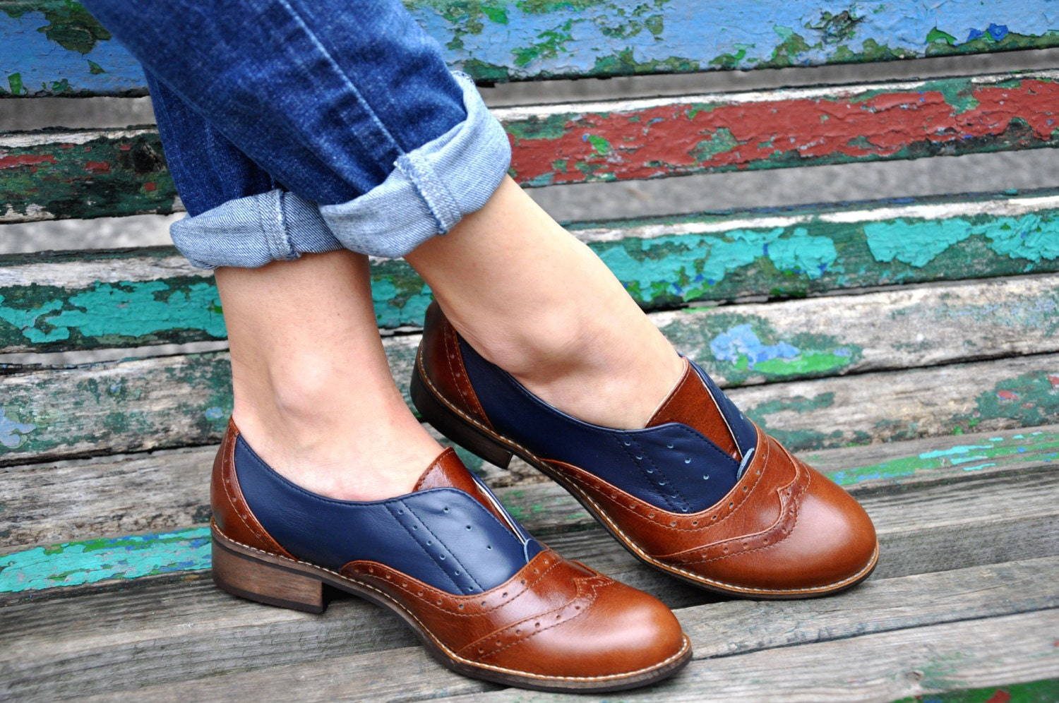 Pershing - Laceless Oxfords, Womens Brogues, Oxfords for Women, Slip on Shoes, Brown Leather Shoes, FREE customization!!!