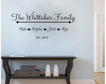 """Personalized Family Names wedding/new baby/anniversary wall decal (36"""" X 15"""")"""
