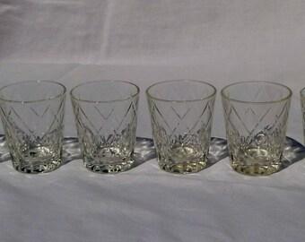 vintage set of 6 federal glass shot glasses
