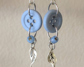 Blue and Silver Dangle Earrings Made from Buttons