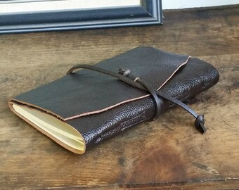 "Slim Leather Journal - Dark Brown Journal 4.5"" x 6"" by The Orange Windmill 1632"