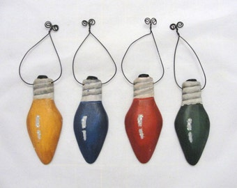 Christmas Lightbulb ornaments set of 4
