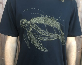 Marine Metropolis - Unisex Organic Cotton Tee Shirt - / Sea Turtle / Nature / ocean / underwater / space / spaceship / creature / futuristic