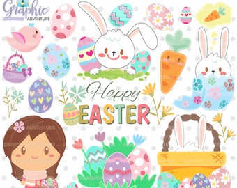 Easter Clipart, Easter Graphics, Clip Art, COMMERCIAL USE, Kawaii Clipart, Spring Clipart, Planner Accessories, Spring Party