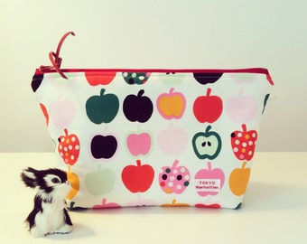 Cosmetic bag Zipper Pouch with Apple print