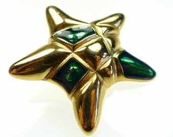Enamel button, star shape 1pc