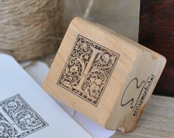 Letter I Rubber Stamp, Monogram I stamp, Wood Mounted Rubber Stamp, Alphabet letter I stamp