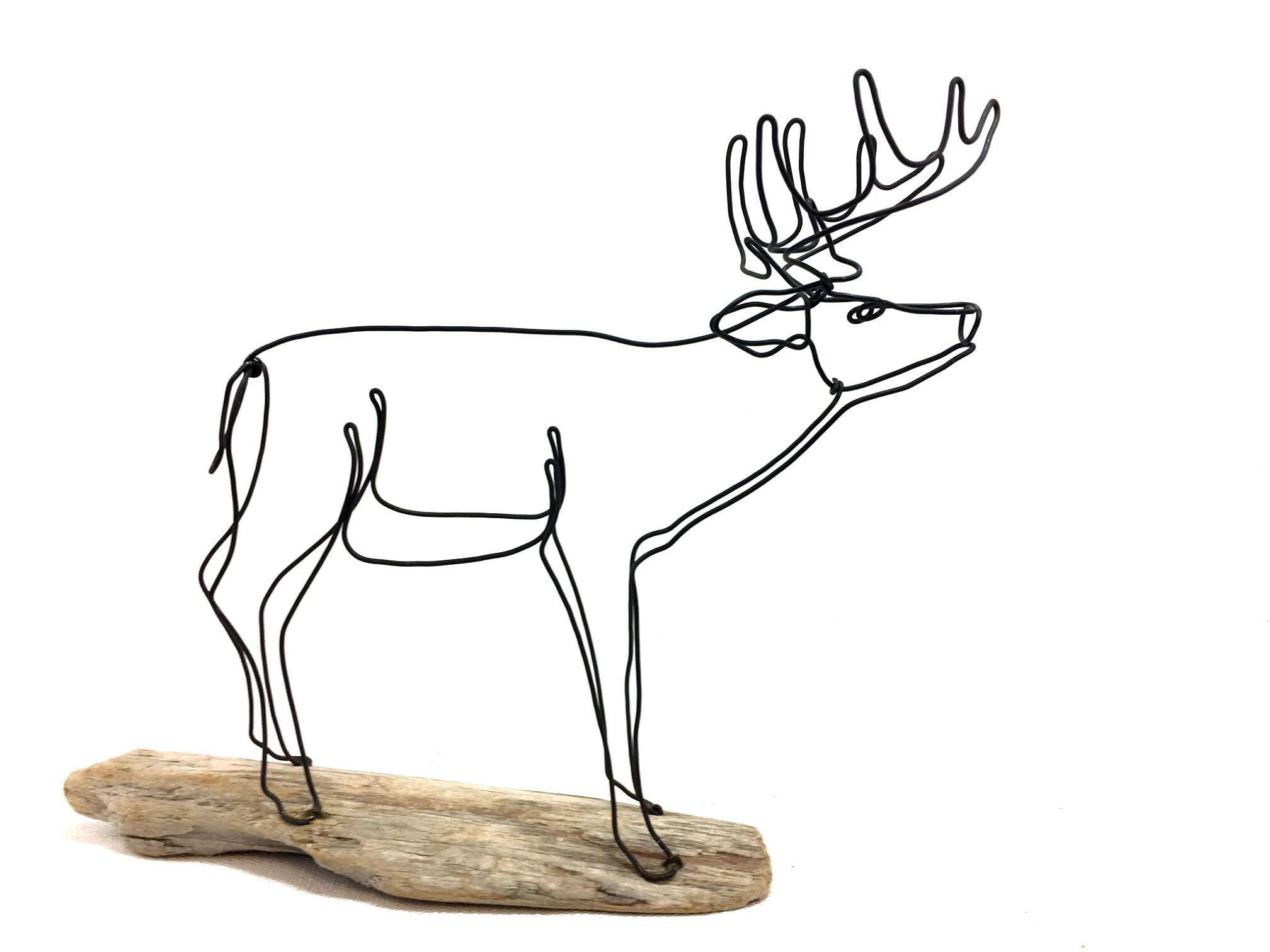 Hirsch Draht Skulptur Reh Draht Kunst Trophäe Buck