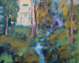 California Plein Air Landscape Oil Painting Original Art San Francisco Bay Area Amador Creek Northern California Artist USA Made Artwork