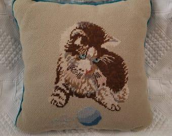 Vintage Crewel Cat Pillow