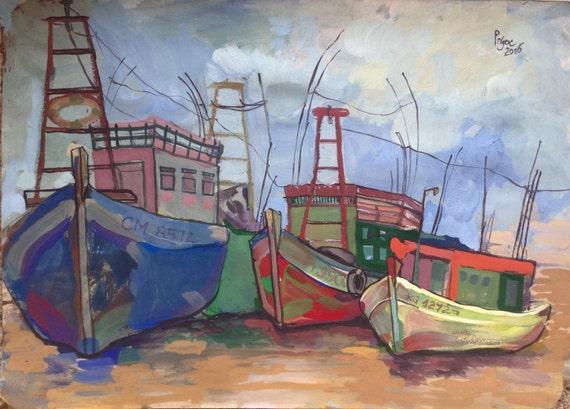 "FISHING BOATS 20x16"" Gouache on Paper, Live Painting, Mekong Delta (Sông Đốc, Cà Mau Province) Original by Nguyen Ly Phuong Ngoc"