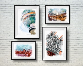 Wall Art Prints,Set of 4 Prints. Paint, photography set, venice italy photography, architecture, travel, collection,