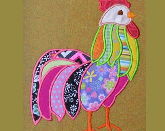 Multi-color Chicken Rooster  APPLIQUE Embroidery Design 5 sizes each  INSTANT DOWNLOAD
