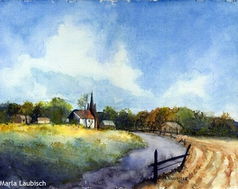 Country Church watercolor painting
