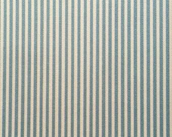 Japanese Sevenberry fabric - Cotton - light blue stripes - by 50 cm (110 x)