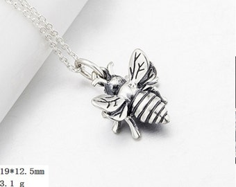Retro Style 925 silver   bumble bee  Pendant  ,DIY   Necklace   19x12.5mm