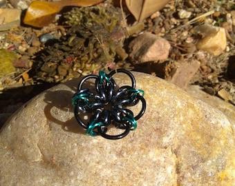 Black, gun metal grey and teal chain mail flower pendant