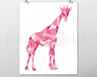 Giraffe Print, Giraffe Wall Art, Wall Decor, Giraffe Decor, Nursery Decor, Nursery Print, Nursery Art, Baby Shower, Pink Giraffe, Baby Room