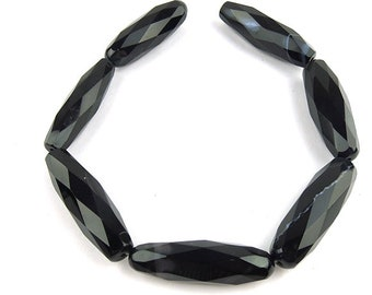 Black Onyx Faceted Tube Beads,