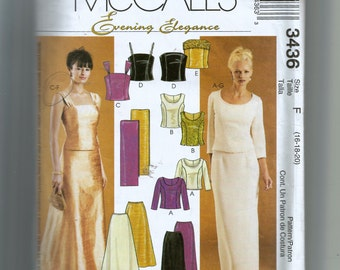 McCall's Misses' Lined Top, Skirts and Stole Pattern 3436