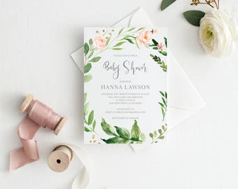 Printable Baby Shower Invitation Template, Floral, Greenery, Baby Shower invite, Gender Neutral, Invitation, Baby Shower Invites,Invite,Baby