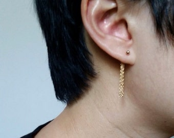 The Fringe Earring, 14kGold Ball Stud and Chain earrings, Fringe Tassel earrings, Chained earrings
