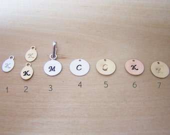 Hand Stamped Sterling Silver, Gold Filled, or 14k Gold Initial Charm / DIY Necklace / Alphabet Initial Pendant