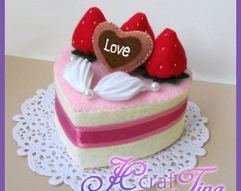 Heart-Shaped Strawberry and Cream Cake PDF pattern - Style 6