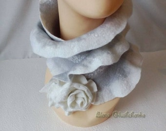 Felted Scarf READY TO SHIP Felt Wool Scarf Boho Scarf Nuno Felted Scarf with Felted Floral Brooch Neckpiece Eco Felt Scarf Gift for her