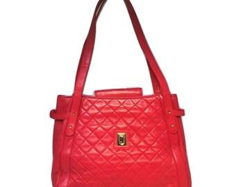 Judith Leiber Vintage Leather Quilted Shoulder Bag Tote