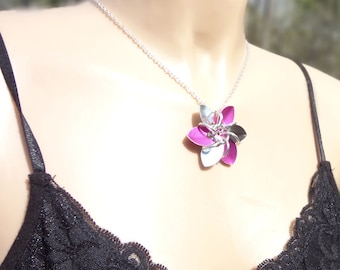 Pink And Silver Metal Flower Necklace